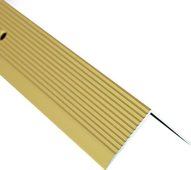 Поріжок BRAZ LINE сход. рифл. 30*30мм 0.9м анод. золото BLB-5303-20-0115-З.09