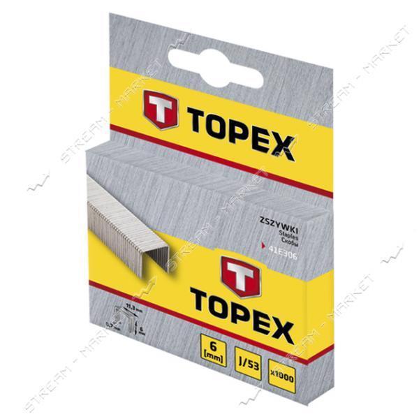 Скоби д/степлера Т53/A 11.4* 6мм 1000шт TOPEX 41E306
