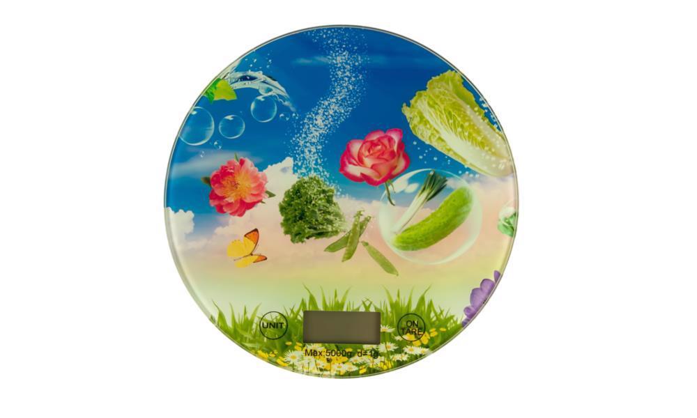 Ваги кухонні 5кг круглі скляні з малюнком IMP220554