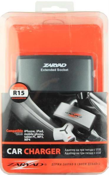 Розгалужувач д/прикурювача ZARYAD 3 гнізда+USB 1A R15