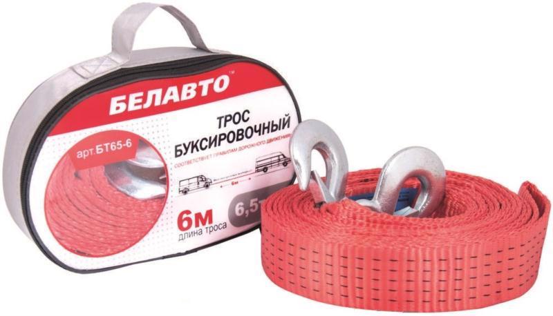 Трос буксирний БЕЛАВТО 6м 6,5т стрічка 2 крюка БТ65-6