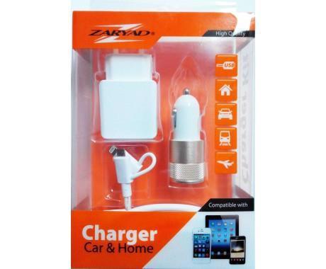 Пристрій заряд. авто ZARYAD 2*USB+мережу в асорт. WKIT/BKIT