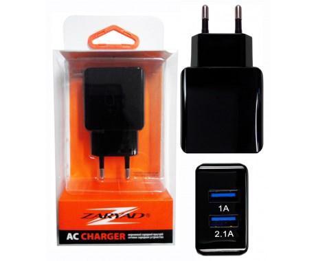 Пристрій заряд. мережеве ZARYAD 2*USB в асорт. ZU01/02/03/04/05