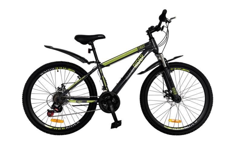 "Велосипед гір. 26"" FREERIDER Fast DD сір.-чор.-зел. 9090"