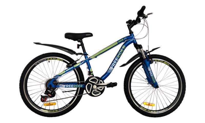 """Велосипед гір. 24"""" FREERIDER Snow син.-біл.-зел. 9137"""
