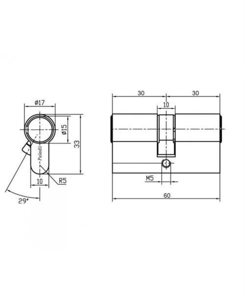 Секрет PALADII ST 60мм 30*30 ключ/ключ профіль. SN (ПЦ089)