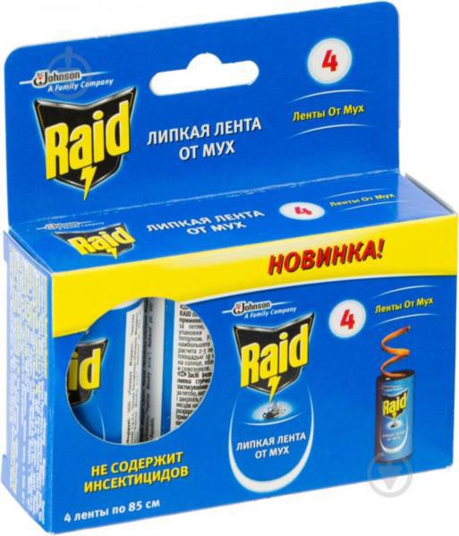 Стрічка липка від мух RAID 4 шт.