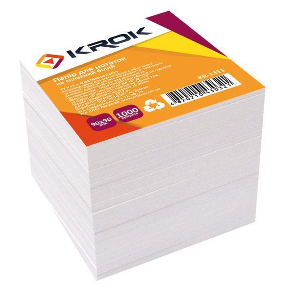 Блок папер. 90*90/1000арк KROK білий не клеєний KR-1311