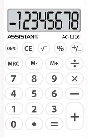 Калькулятор ASSISTANT AC-1116 8-розрядів білий
