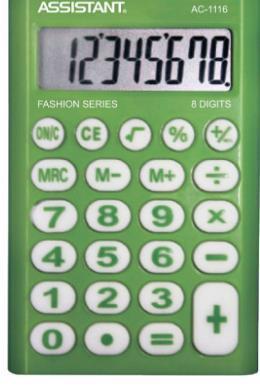 Калькулятор ASSISTANT AC-1116 8-розрядів зелений
