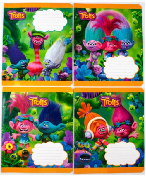 """Зошит 12арк. клітинка МИЦАР Disney """"Trolls"""" (Ц818025У) 288615"""