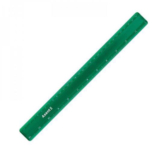 Лінійка пласт. 30см AXENT матова зелена 7530-05-A