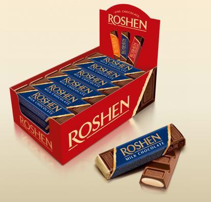Батончик шоколадний ROSHEN молочний з начинкою крем-брюле 43г