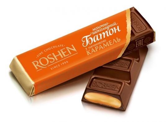 Батончик шоколадний ROSHEN молочний з карамельною начинкою 43г