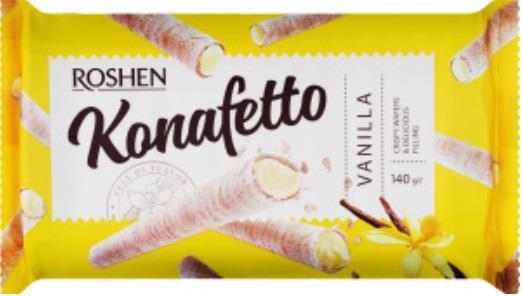 Трубочки вафельні ROSHEN Konafetto з ванільною начинкою 140г м/п