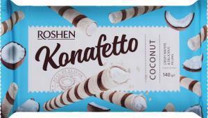 Трубочки вафельні ROSHEN Konafetto з кокосовою начинкою 140г м/п
