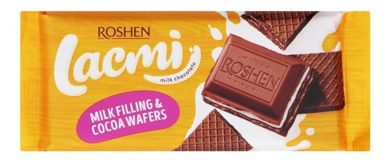 Шоколад ROSHEN lacmi молочний з молочний начинкою і вафлею 90