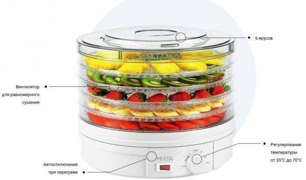 Сушарка д/овочів фруктів електр. MIRTA DH3846