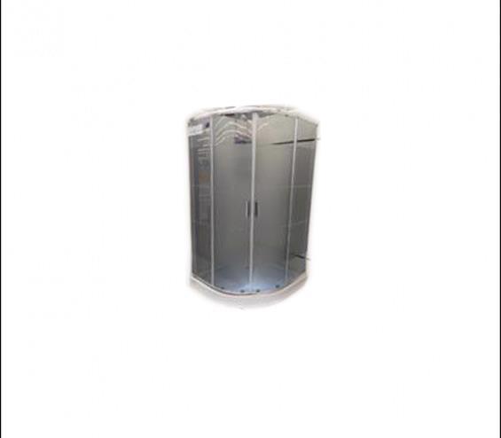 Кабина душ. DELFI 609G lines (90*90)мілк.піддон, хром, стекло сіре